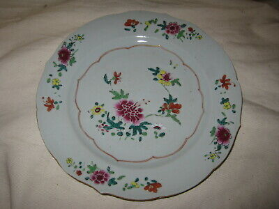 18th Century Qianlong Famille Rose Chinese Export Porcelain Plate AS-IS Hairline