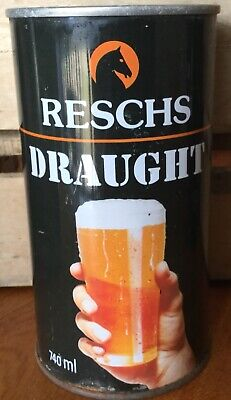 """Reschs Draught. 740ml. """"Thumb Up The Glass"""".Straight Steel. Beer Can."""