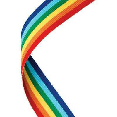PACK OF 10/25/50/100 x RAINBOW MULTI COLOUR Medal Ribbons Clip Woven 22mm Wide