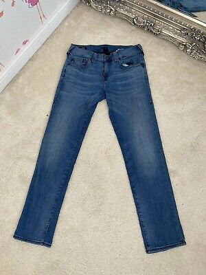 Mens Blue SLIM Relaxed TRUE RELIGION GENO JEANS (W30 L30) *GREAT COND*