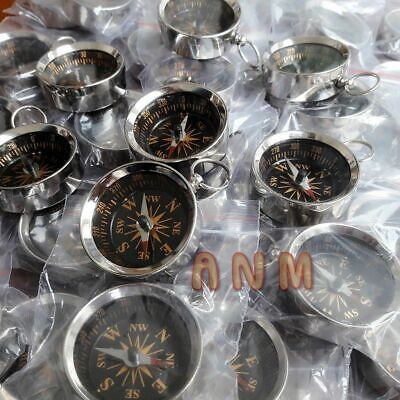Lot Of 50 Brass Nickle Plated Nautical Compass 35 mm HANDMADE STYLE SOLID GIFT