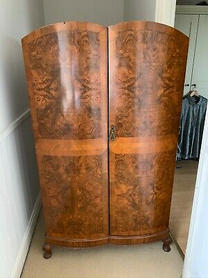 Vintage walnut wardrobe with shelves & drawers ,hanging rail. Art Deco