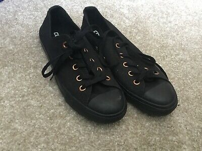 all black converse with rose gold size UK 3