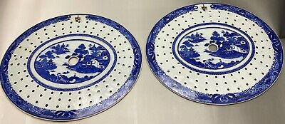 A Pair of Antique Chinese Blue and White Armorial Drainer Plaques