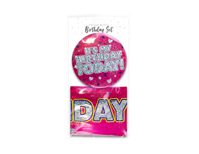 Holographic Happy Birthday Banner & Birthday Badge Party Blue Boy Kids Girl Pink