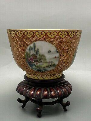 Antique Chinese Famille Rose Yellow Ground Bowl