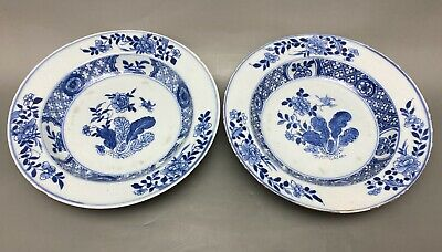 A Pair Of Antique Chinese Blue And White Plates