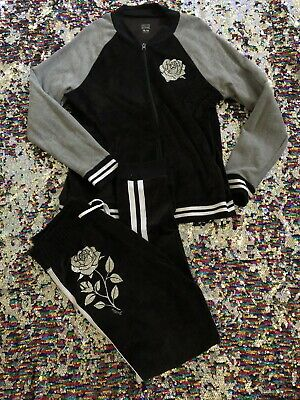 Justice Active Black/Grey Velour Jogger Set Sz. 18/20 Very Cute!