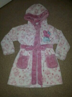 Girls peppa pig dressing Gown Size 2-3 Years Fluffy Warm hooded