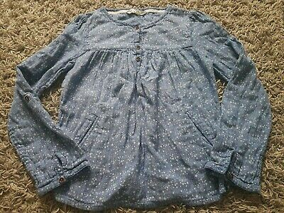 Fat Face Brushed Cotton Girls Top Long Sleeve Agec12-13 Denim Blue