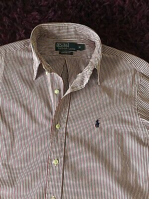 Super Cool 100% Genuine Mens Ralph Lauren Custom Fit Striped Shirt In Medium