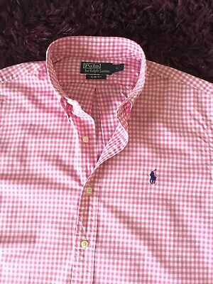 Super Cool 100% Genuine Mens Ralph Lauren Slim Fit Check Shirt In Large
