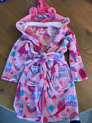 Girls Pink Trolls Dressing Gown With Hood 6-7yrs *VGC*