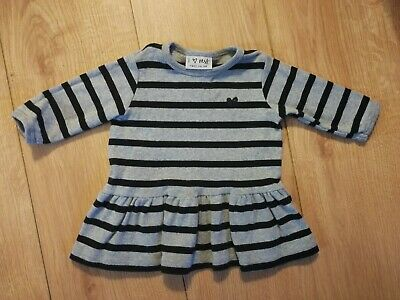 Next Baby Infant Girl Black And Grey Striped Dress 3-6 Months