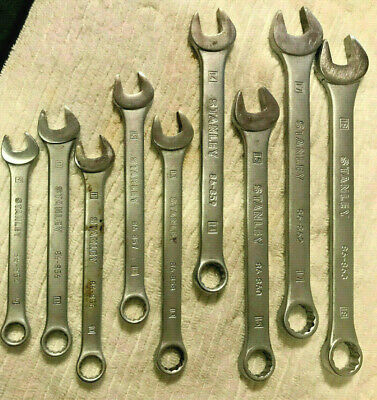 STANLEY METRIC WRENCHES -  LOT of 9 USED - BOX /OPEN END COMBO WRENCHES