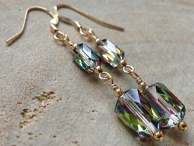 Art Deco Clear /& Peacock Blue Faceted Glass 14ct Rolled Gold Earrings