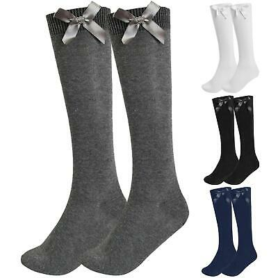 Girls Knee High Plain Long School Socks with Satin Bow Childrens 1, 3 & 6 Packs
