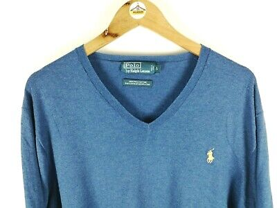 Mens POLO RALPH LAUREN Thin Knit Jumper Large V Neck Pullover Sweater Blue