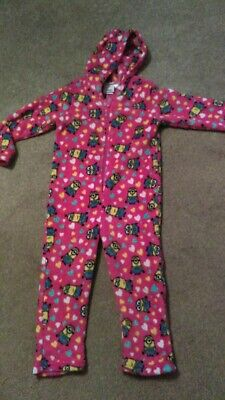 Girls Pink Minions Fleece All in One with hood, 4-5 years. New!