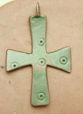 Ancient Roman Bronze Cross with Decorations Nice Green Patina L=41x25mm 2,7g.