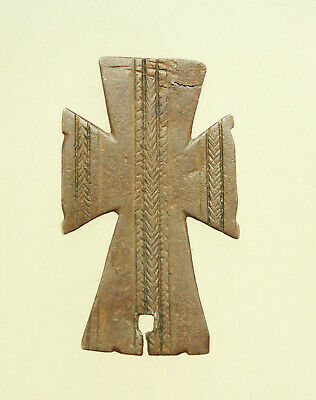 Ancient Byzantine Bronze Cross with Decorations  L=60x35mm 14g.