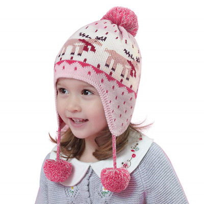 Kids Boys Girls Winter Bobble Hat with Ear Flaps Warm Hooded Beanie Cap Thermal