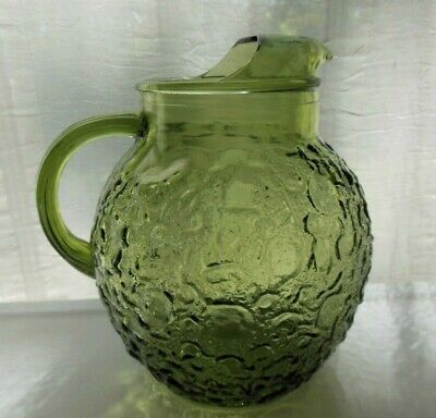Anchor Hocking Glass Green Lido Milano 96 ounce Ball Pitcher with Ice Lip