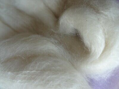 Fine Wool 21mic Combed Top Natural White For Dyeing Spinning and Felting - 500gm