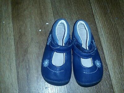 Clarks Girls Shoes Size 3.5 H Infant Navy Leather Vgc