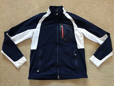 Mens RLX Track Jacket Size Small White Navy Blue Polo Ralph Lauren