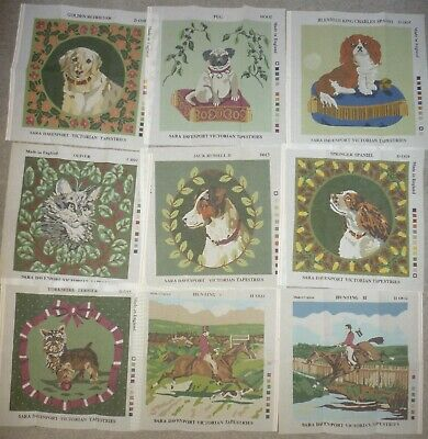 9 x SARA DAVENPORT CANVASES (1 cat/2 horse/6 dog) VICTORIAN TAPESTRY NEEDLEPOINT