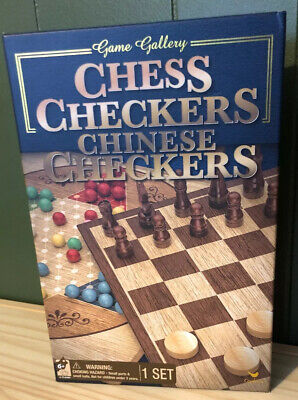Game Gallery Chess, Checkers and Chinese Checkers Board Game Set NEW Open