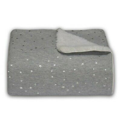 Living Textiles Jersey Sherpa Blanket Stars Grey