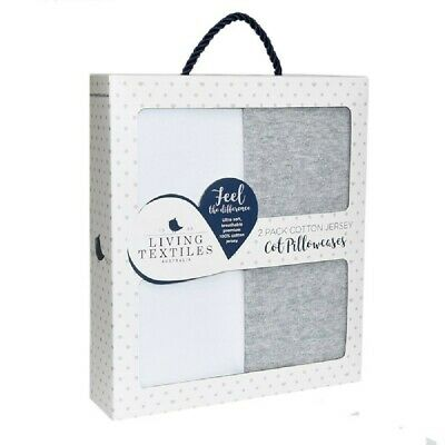 Living Textiles Jersey Pillowcase White/Grey 2 Pack
