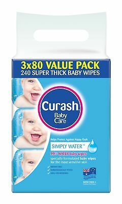 Curash Baby Wipes Simply Water 3 x 80 Pack