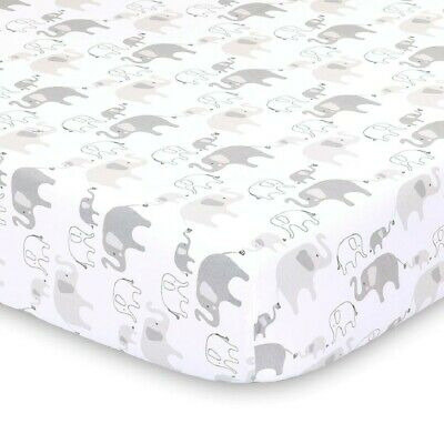 4Baby Jersey Cot Fitted Sheet Grey Safari