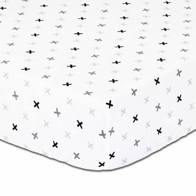 4Baby Cot Fitted Sheet Black Grey Crosses