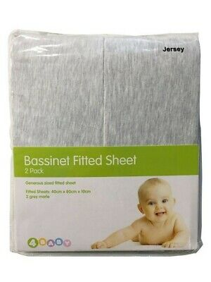 4Baby Jersey Bassinet Fitted Sheet Grey 2 Pack