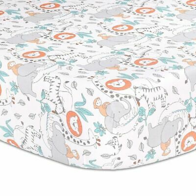 The Peanut Shell Safari Adventure Cot Fitted Sheet Animal