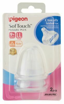 Pigeon Wide Neck SofTouch Peristaltic Plus Teat - LL - 2 Pack