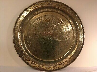 """LARGE Vintage Mid Century Engraved Oriental Brass Tray / Table Top 34"""""""