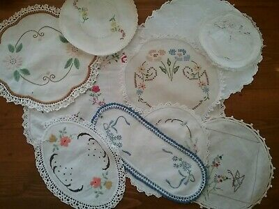 10 VINTAGE EMBROIDERED DOILIES.   All Imperfect.