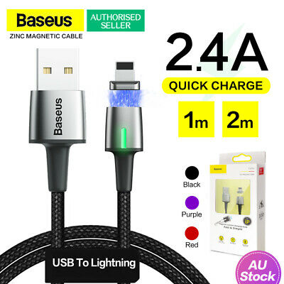 Genuine Baseus Zinc Magnetic USB Lightning Cable Fast Charging For iPhone iPad