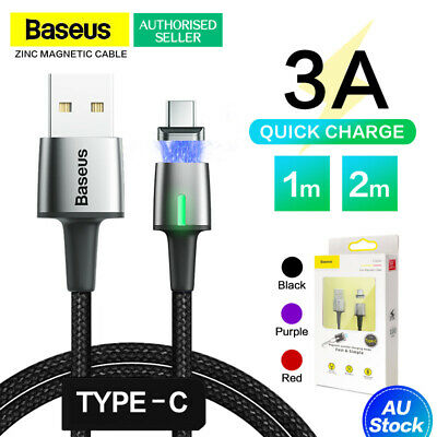 Genuine Baseus Zinc Magnetic Data Cable USB Type-C Fast Charging Sync Samsung AU