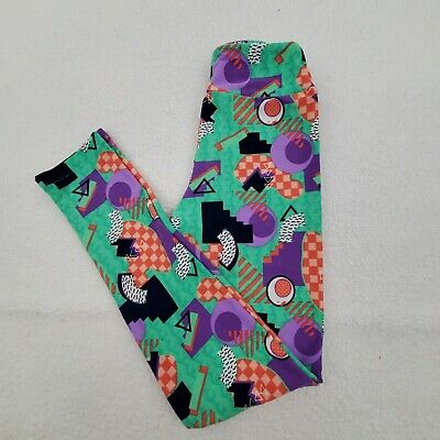 Lularoe Leggings Tween 00 0 Green Mod Vintage Style 90s Purple Pink Yoga Pants