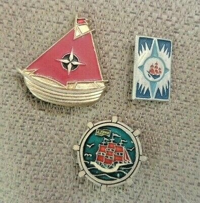 "Russia 3 badges for Novel ""Crimson Sails""  by Russia's Alexander Grin"