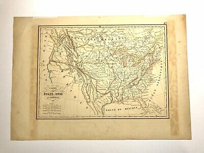 Antique Early French Map Of North America Carte De Etats Unis D'amerique