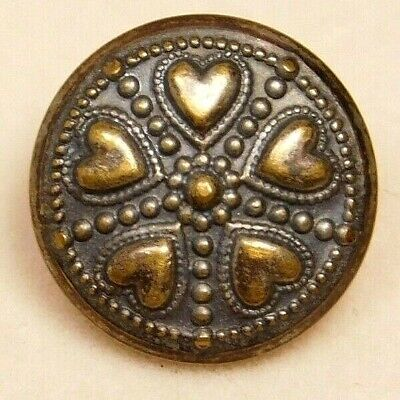 Antique BUTTON Small VICTORIAN Brass Metal w 4 Tiny Hearts NICE! #21M