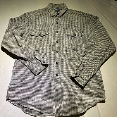 Polo Ralph Lauren Mens Sierra Button Shirt Black White Houndstooth Two Pockets L