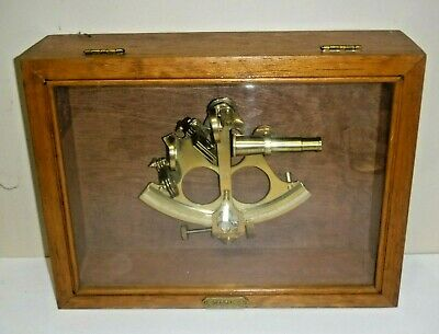 "Ross London Brass Nautical Marine Sextant In Wood Display Box ""Captain"""